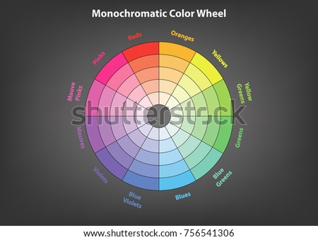 Monochromatic Color Wheel Scheme Theory Vector Isolated Or Grey Background
