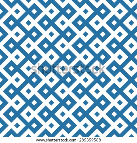 monochromatic ethnic seamless background. checkered textures in blue and white colors. vector illustration  - stock vector