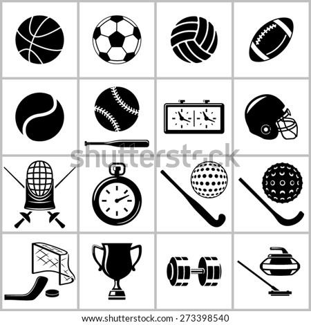 Monochromatic icons set of  some items and equipment for  sports  - stock vector