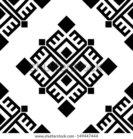 Monochromatic seamless ethnic pattern background. Vector file editable, scalable and easy color change. Can use it for packaging, textile design and scrapbooking - stock vector