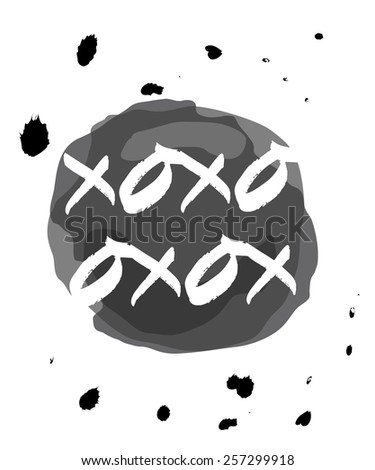 monochromatic xoxo drops on ink circle - stock vector