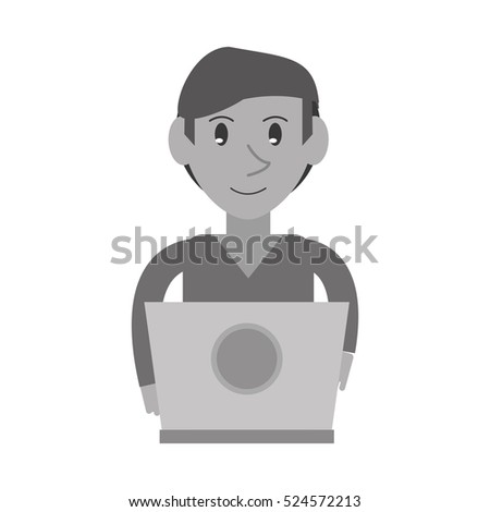 monochromatic young man working laptop design