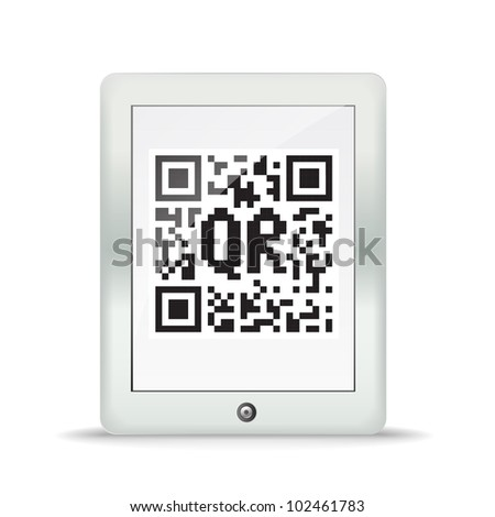 Monochrome abstract QR code in a modern gadget