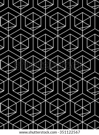 Monochrome abstract textured geometric seamless pattern with geometric figures. Vector black and white textile backdrop.