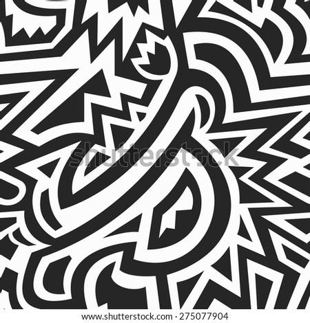 monochrome african geometric seamless pattern - stock vector