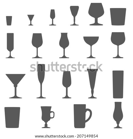 monochrome alcohol glasses vector silhouette set - stock vector