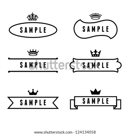 monochrome antique label with crown - stock vector