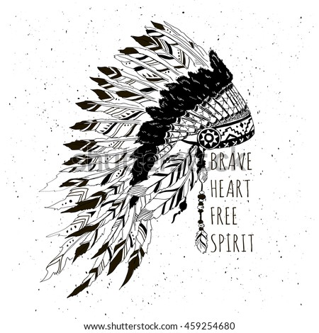 Monochrome artwork with war bonnet and motivation quote t shirt design native american