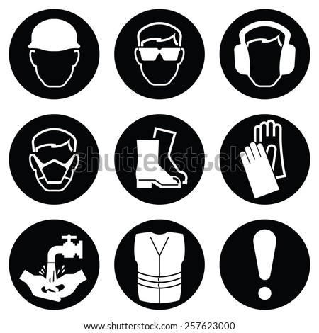 Monochrome black and white Construction and manufacturing Industry Health and Safety Icon collection isolated on white background - stock vector
