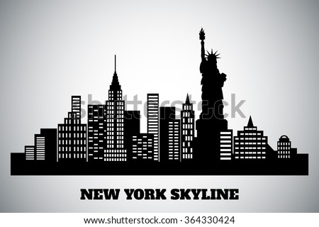 monochrome black-white skyline of a New York, vector illustration - stock vector