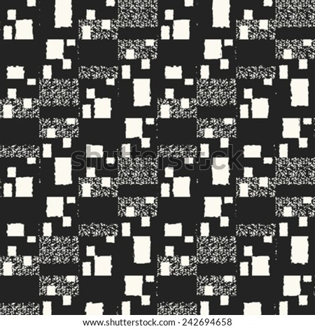 Monochrome block background with noisy details. Seamless pattern. Vector. - stock vector