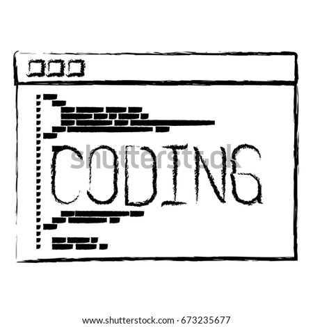 monochrome blurred silhouette of programming window with script of coding vector illustration