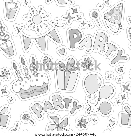Monochrome cheerful seamless pattern on the topic of children's leisure and party. Wrapping paper. Balloons, cake with candles, ice cream, candy, gifts, flowers, sparkles on an white background.  - stock vector
