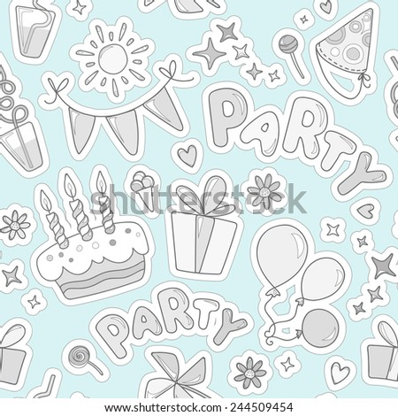 Monochrome cheerful seamless pattern on the topic of children's leisure. Balloons, cake with candles, ice cream, candy, gifts, flowers, hearts, sparkles against a sky blue background.
