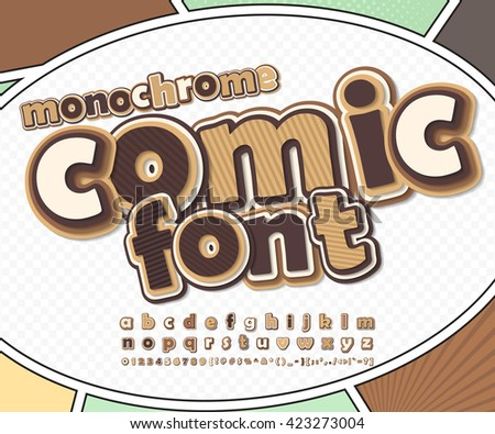Monochrome chocolate high detail comic font on comic book page. Alphabet in style of comics, pop art. Multilayer funny letters, figures for decoration of kids' illustrations, posters, comics, banners - stock vector