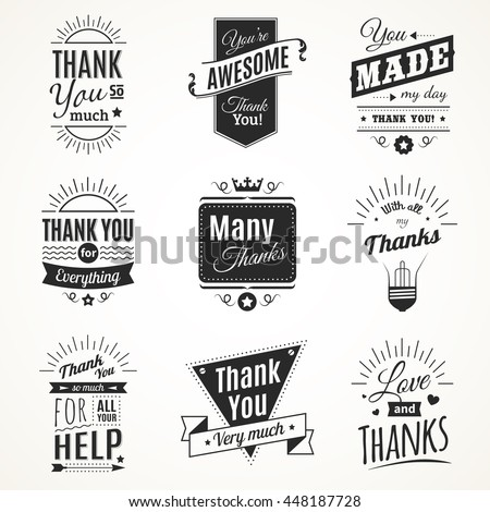Monochrome collection of nine vintage thank you signs with sun light elements in retro font style isolated vector illustration - stock vector