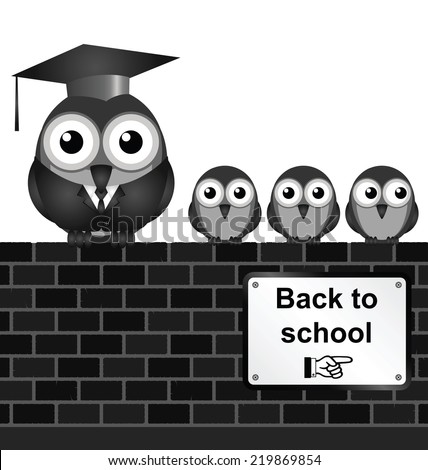 Monochrome comical back to school sign on brick wall isolated on white background - stock vector