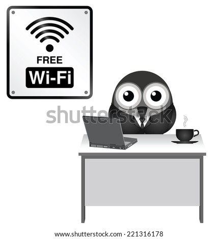 Monochrome comical representation of free WiFi at an internet cafe isolated on white background - stock vector