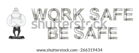 Monochrome construction manufacturing and engineering health and safety related banner isolated on white background - stock vector