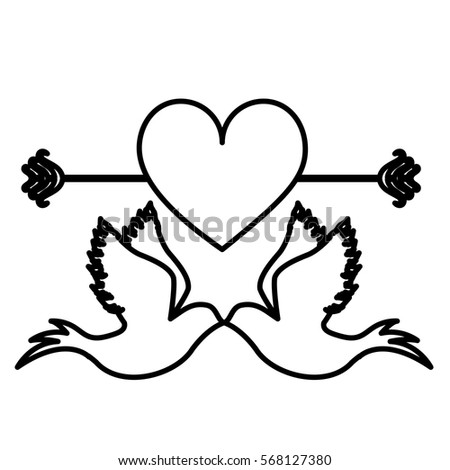stock vector monochrome contour with pigeons attached by the peak and big heart crossed by arrow 568127380 arrow cross heart fotografie, sn�mky pro �leny zdarma a vektory on arrow templates cute big