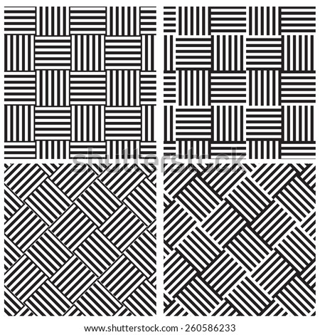 Monochrome Contrast weave line textile patterns in four style