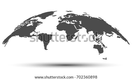 Monochrome 3D Map of the World with Shadow Isolated on White Background. Vector Illustration