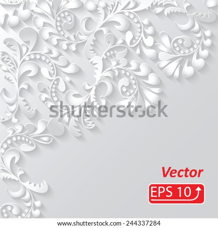 monochrome 3d white floral pattern, isolated on grey background Ornamental background for your design wallpapers, pattern fills, web page backgrounds, surface textures vector - stock vector
