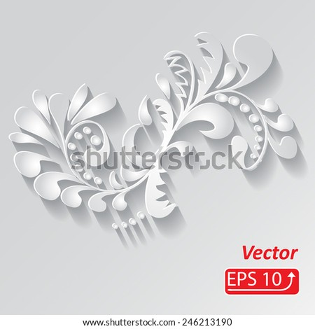 monochrome 3d white floral pattern, isolated on grey background Ornamental element background for your design wallpapers, pattern fills, web page backgrounds, surface textures vector - stock vector