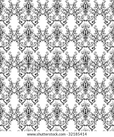 monochrome damask wallpaper