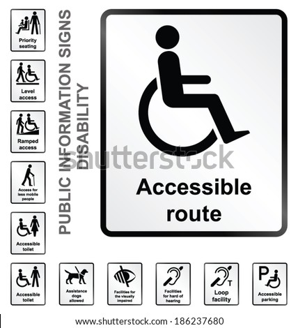 Monochrome disability related public information signs isolated on white background - stock vector