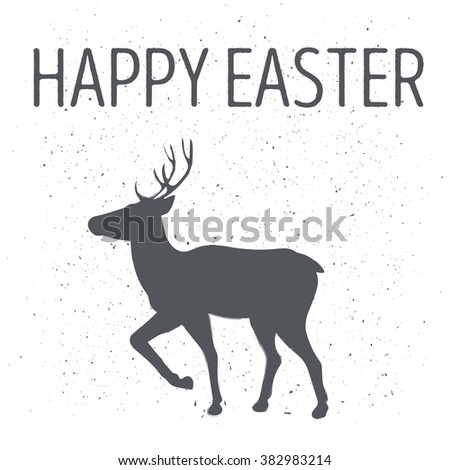 Monochrome emblem or deer poster by Easter with the inscription happy easter on a white background. Vector illustration - stock vector