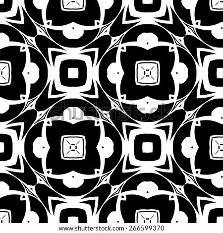 Monochrome ethnic geometric patterns. Vector backgrounds with circles and squares - stock vector