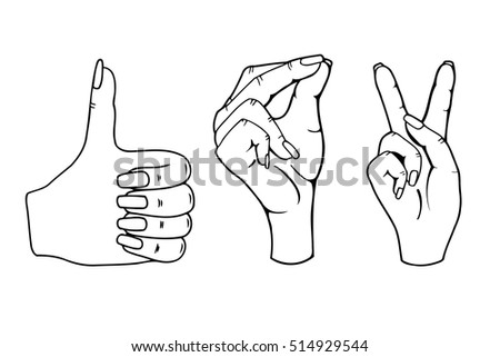 Monochrome Female hands symbolizing: click well and win. Vector illustration isolated on white background.