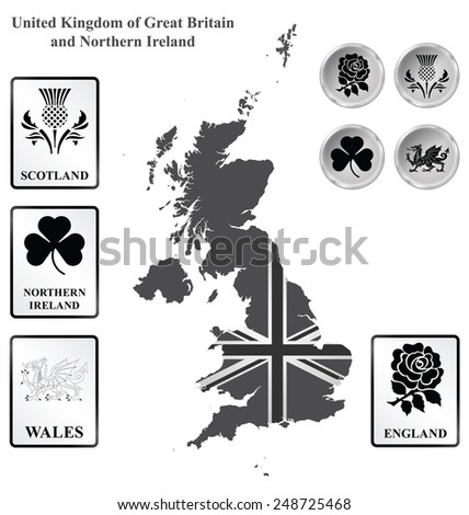 Monochrome flag signs and icons of the United Kingdom of Great Britain and Northern Ireland overlaid on outline map isolated on white background  - stock vector