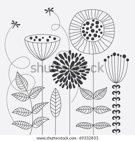 monochrome floral background. vector illustration - stock vector