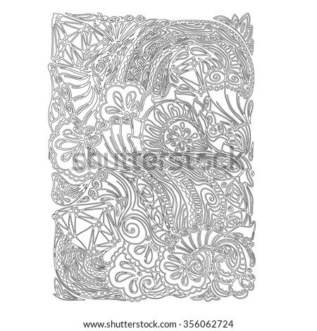 Monochrome Floral Pattern Vector. Hand Drawn Texture with Flowers. Can be used for coloring book page design,anti stress hobby for adult.Vector black and white illustration. - stock vector