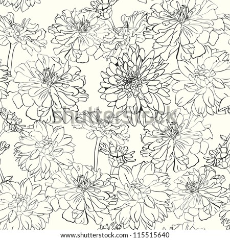 Monochrome floral wallpaper, hand-drawn flowers - stock vector
