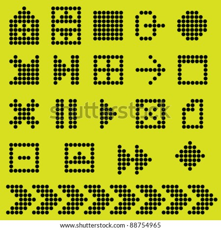 monochrome fluorescent dot-based icon set. more icons are available - stock vector