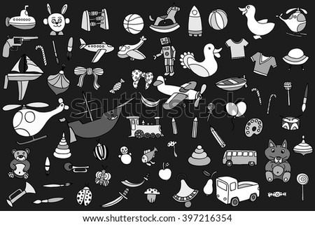 Monochrome Funny baby toys set. Vector doodle collection of hand drawn icons for baby shower or scrapbook - stock vector