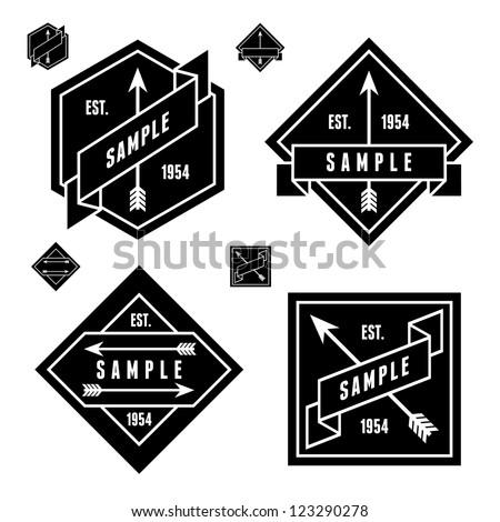 monochrome geometric label with arrow - stock vector