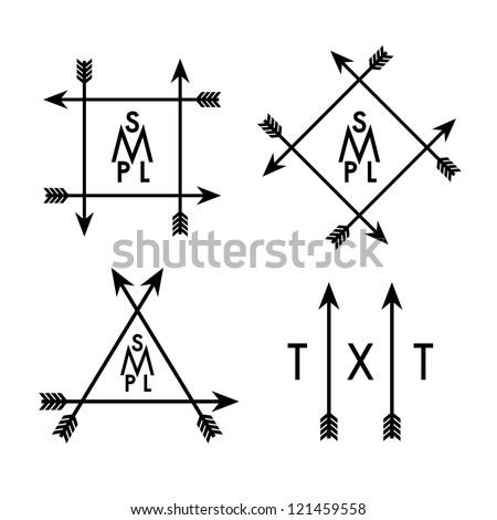 monochrome geometric label with arrows - stock vector