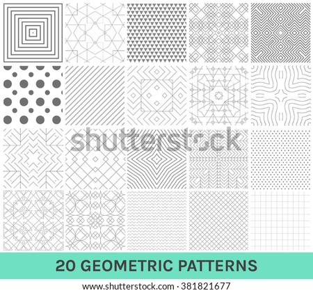 Monochrome geometric ornaments. Set of geometric vector patterns