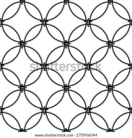 Monochrome geometric pattern of circles seamless vector background.