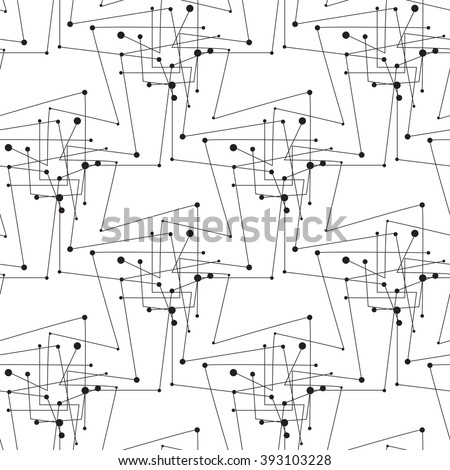 Monochrome geometric pattern with lines and dots. Modern black and white background