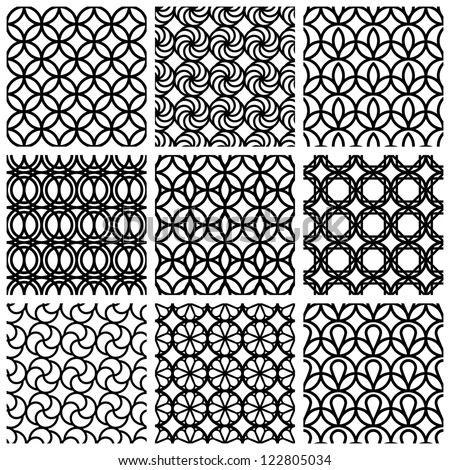 Monochrome geometric seamless patterns set, vector backgrounds collection. - stock vector