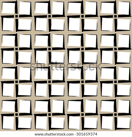 Monochrome geometrical pattern grid, cell, seamless vector background. - stock vector