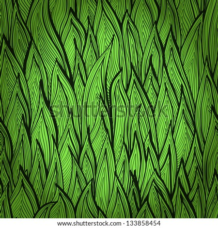 Monochrome green hand drawn seamless pattern with grass sprouts. Eps10 - stock vector