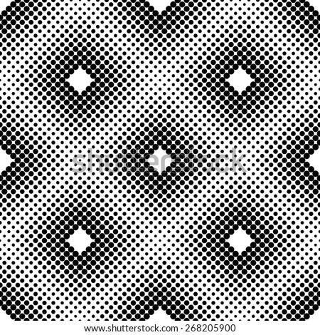 Monochrome Halftone Square Tiles, Vector Seamless Pattern - stock vector