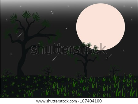 Monochrome Halloween background with trees, and moon - stock vector