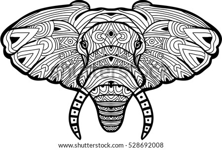 Painted Elephant On White Background With Tribal Pattern